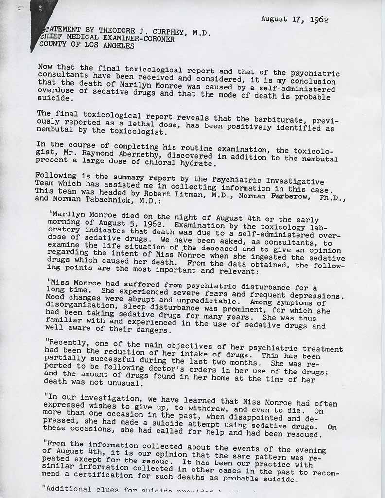 Marilyn Monroe Files Page 2 Very Delicate INFO! Police/Death ...