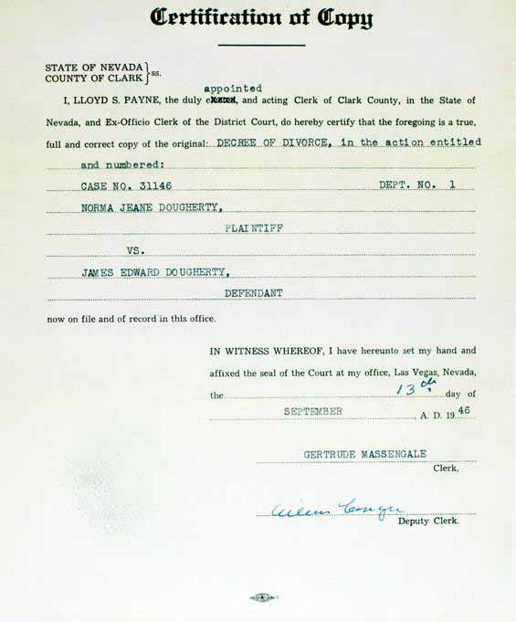 Certification Of The Divorce  Norma Jeane Jim Dougherty